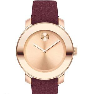 Women's Movado Bold rose gold/maroon suede watch